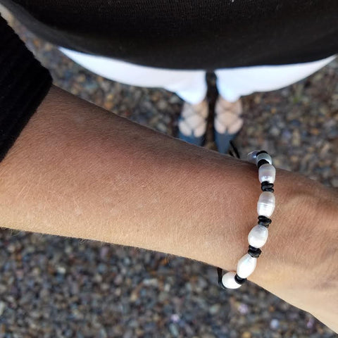 Image of Freshwater Pearls on Black Single Leather Wrap Bracelet