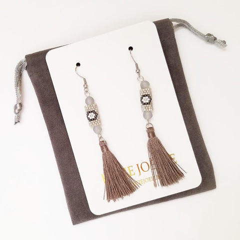 Gray and Silver Miyuki Tassel Earrings