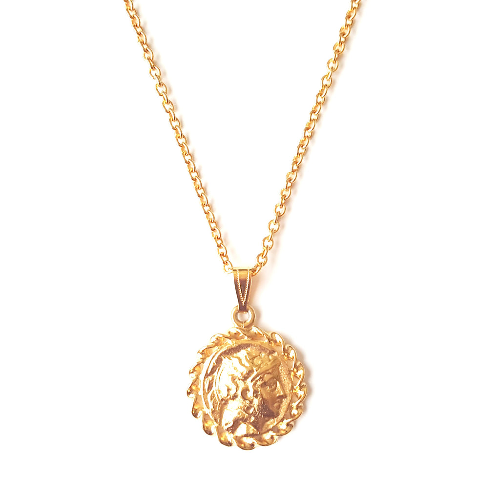 Gold Coin Pendant Long Necklace