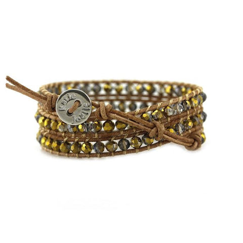 Gold Dorado Crystals on Natural Leather Wrap Bracelet