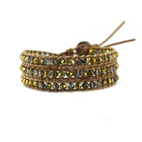 Image of Gold Dorado Crystals on Natural Leather Wrap Bracelet