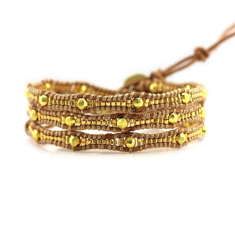 Image of Gold Scalloped Miyuki Glass Sead Beads on Natural Leather Wrap Bracelet