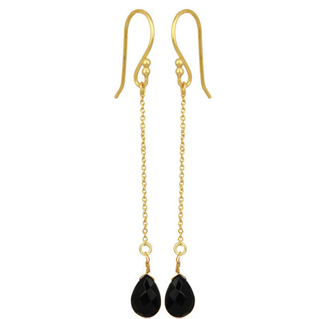 Image of Black Onyx Gold Vermeil Chain Dangle Earrings