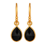 Black Onyx Gold Vermeil Drop Earrings