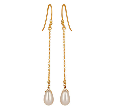 Image of Freshwater Pearl Gold Vermeil Chain Dangle Earrings
