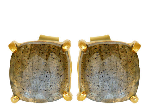 Image of Labradorite Sterling Silver Stud Earrings in Gold or Silver