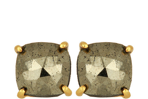 Pyrite Gold Sterling Silver Stud Earrings
