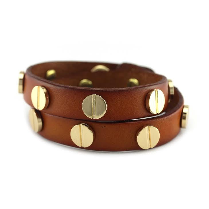 Gold Studded Cognac Leather Double Wrap Bracelet