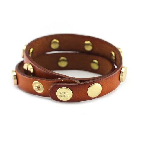 Image of Gold Studded Cognac Leather Double Wrap Bracelet
