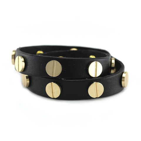 Image of Gold Studded Black Leather Double Wrap Bracelet