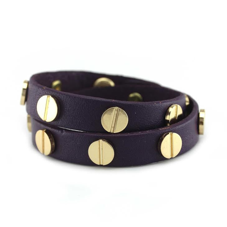 Gold Studded Purple Leather Double Wrap Bracelet