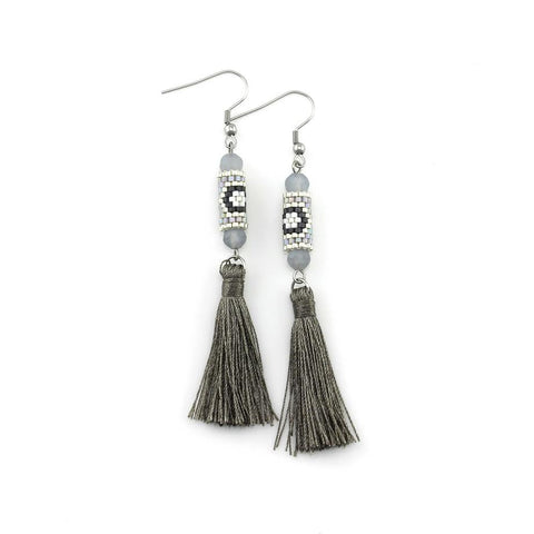 Image of Gray and Silver Miyuki Tassel Earrings