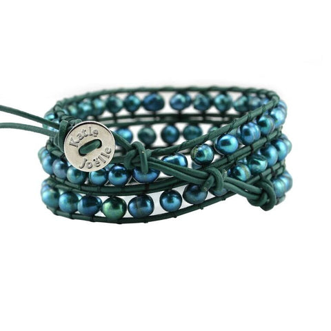 Teal Green Freshwater Pearls on Green Leather Wrap Bracelet