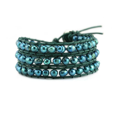 Image of Teal Green Freshwater Pearls on Green Leather Wrap Bracelet