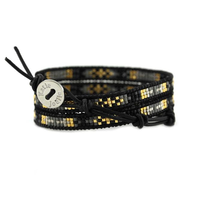 Black and Grey Mix of Miyuki Glass Seed Beads on Black Leather Wrap Bracelet