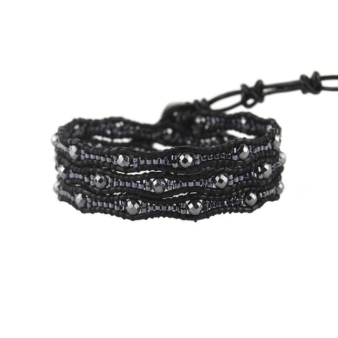 Image of Gunmetal Scalloped Miyuki Glass Sead Beads on Black Leather Wrap Bracelet