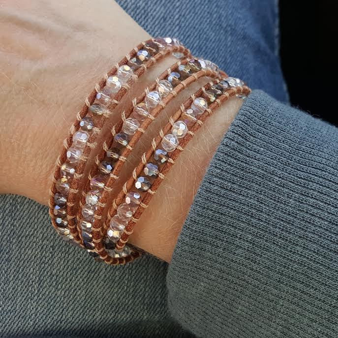 Harvest Mix Crystals on Natural Leather Wrap Bracelet