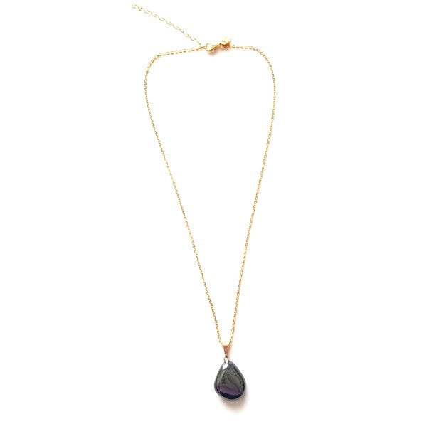 Natural Hematite Pendant Necklace on Gold