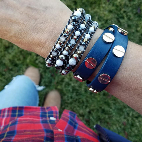 Image of Gold Studded Navy Blue Leather Double Wrap Bracelet