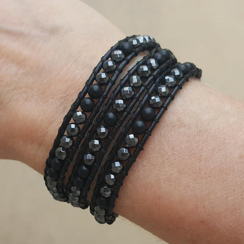 Image of Hematite and Matte Onyx on Black Leather Wrap Bracelet