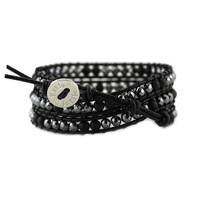 Hematite and Matte Onyx on Black Leather Wrap Bracelet