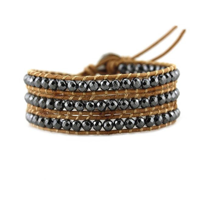 Hematite on Natural Leather Wrap Bracelet