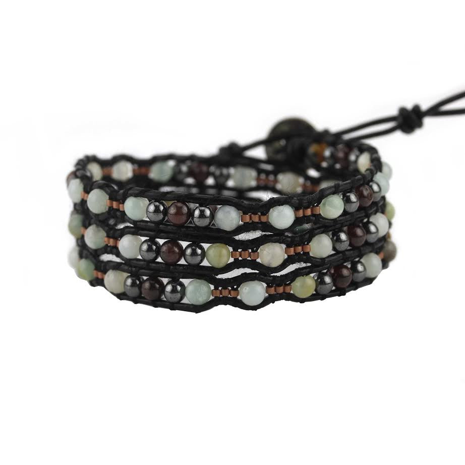 Amazonite Scalloped Wrap Bracelet on Black Leather