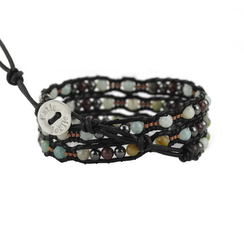 Image of Amazonite Scalloped Wrap Bracelet on Black Leather