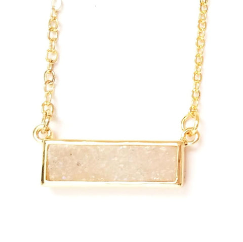Druzy Bar Pendant Necklace in Iridescent White