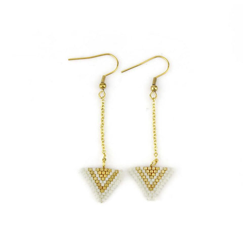 Image of Ivory and Gold Miyuki Triangle Dangle Earrings