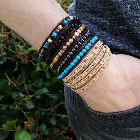 Image of Mixed Pastel Miyuki Glass Seed Beads on Natural Leather Wrap Bracelet