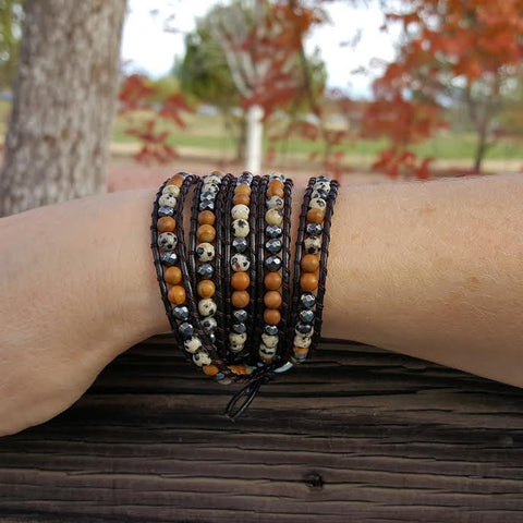 Image of Dalmatian Jasper, Wood Jasper and Hematite on Dark Brown Leather Wrap Bracelet