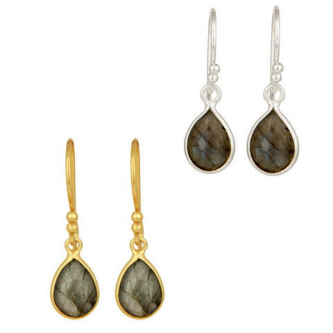 Image of Labradorite Sterling Silver Drop Earrings in Gold or Silver
