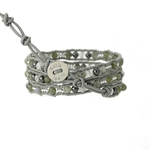 Labradorite and Hematite Scalloped Wrap Bracelet on Gray Leather