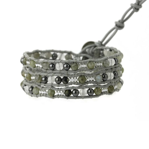 Image of Labradorite and Hematite Scalloped Wrap Bracelet on Gray Leather