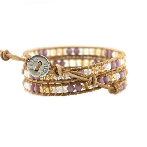 Image of Lavender Mix on Natural Leather Wrap Bracelet