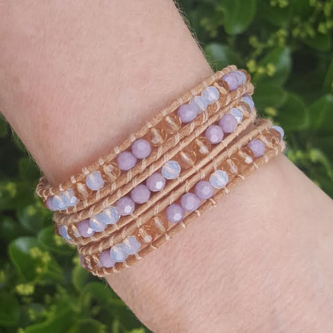 Lavender Mix on Natural Leather Wrap Bracelet