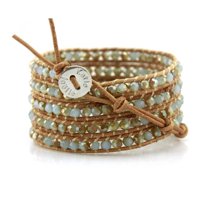 Mint Dorado Crystals on Natural Leather Wrap Bracelet