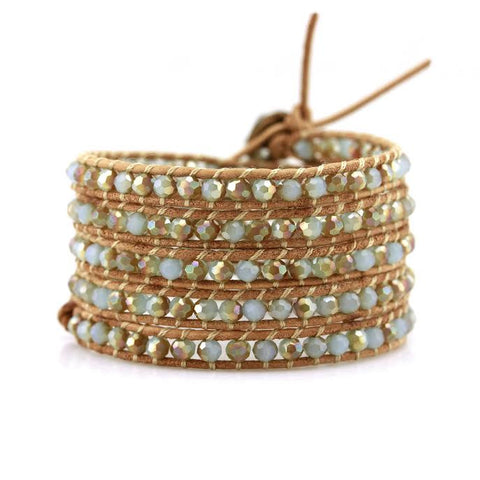 Image of Mint Dorado Crystals on Natural Leather Wrap Bracelet