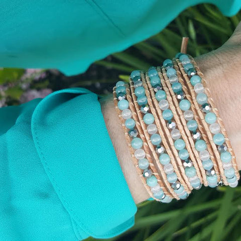 Mint Jade Mix on Natural Leather Wrap Bracelet