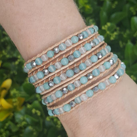 Image of Mint Jade Mix on Natural Leather Wrap Bracelet