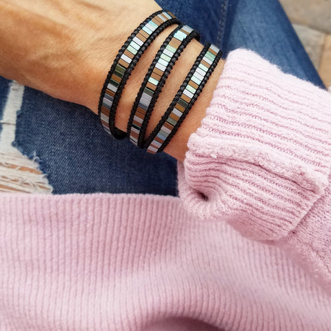 Mixed Hematite on Black Vegan Cord Wrap Bracelet