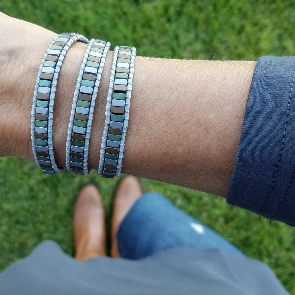 Mixed Hematite on Gray Vegan Cord Wrap Bracelet