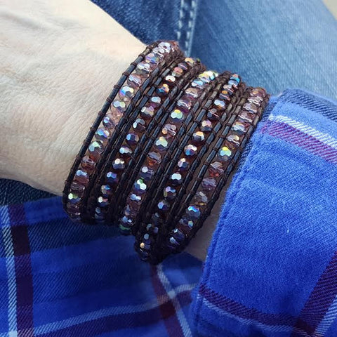 Mauve Mixed Crystals on Dark Brown Leather Wrap Bracelet