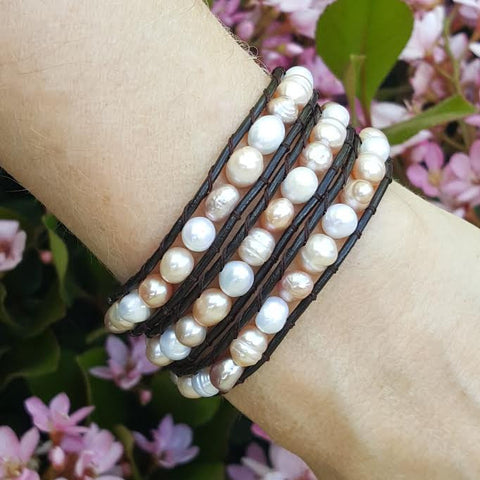 Mixed Pastel Freshwater Pearls on Dark Brown Leather Wrap Bracelet