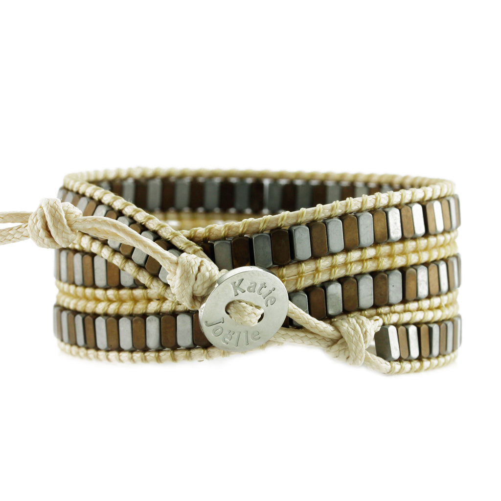 Neutral Mixed Hematite on Heather Beige Vegan Cord Wrap Bracelet
