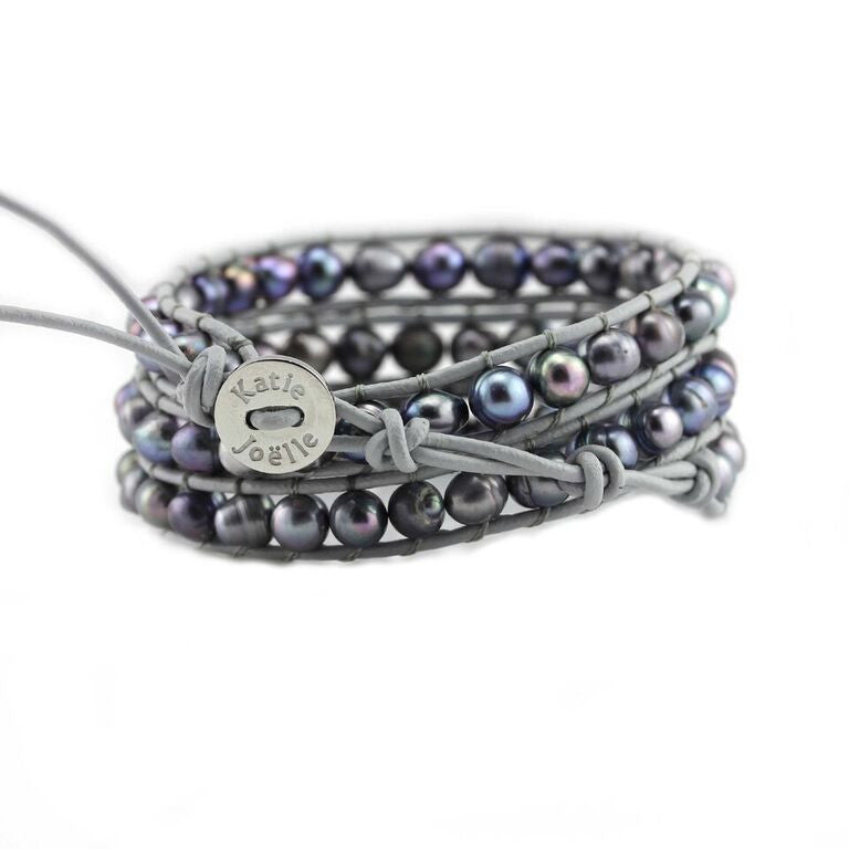 Peacock Blue Freshwater Pearls on Grey Leather Wrap Bracelet