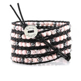Pink Howlite and Hematite on Black Leather Wrap Bracelet