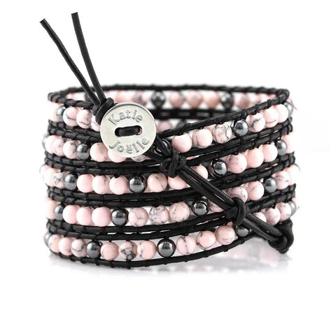 Image of Pink Howlite and Hematite on Black Leather Wrap Bracelet