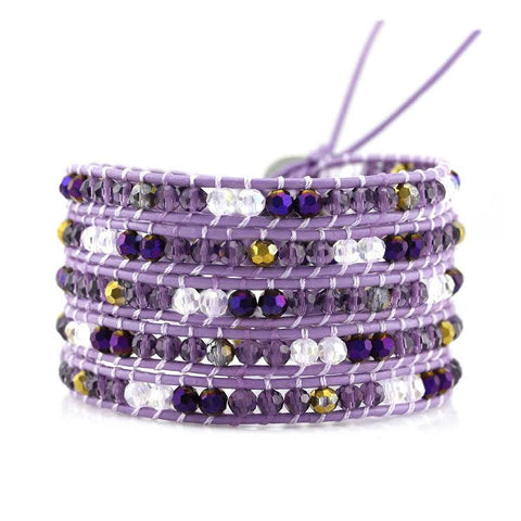 Image of Purple Mixed Crystals on Purple Leather Wrap Bracelet